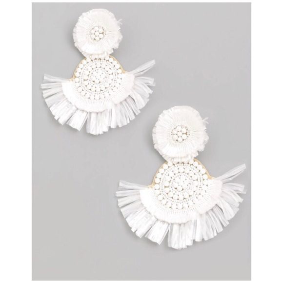 82624ab5e82b4 White Tassel Fringe Earrings